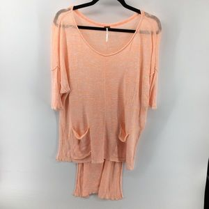 Free People Oversized Linen & Rayon Top